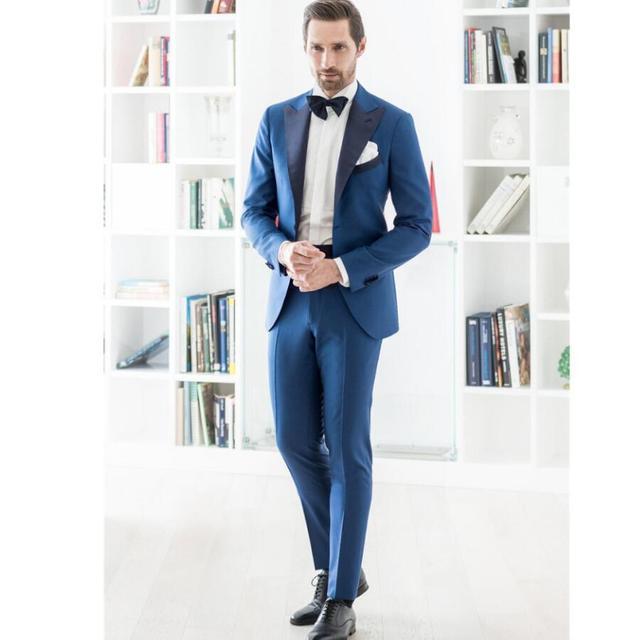 9a37b4f99dfbe Wykonane na zamówienie ręcznie robione męskie garnitur niebieski smokingi  kurtka smokingi męskie garnitury garnitury ślubne formalne
