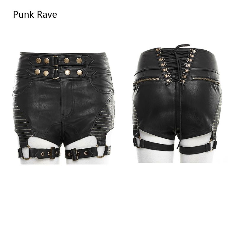 Punk Rave Rock Hot Shorts Heavey Metal Leather Cool Sexy Women Jeans Shorts Trousers K248