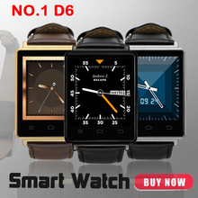 ¡ CALIENTE! No. 1 D6 3G Teléfono Smartwatch Android 5.1 MTK6580 Quad A Core 1.3 GHz 1 GB RAM 8 GB ROM 1.63 pulgadas WiFi Bluetooth GPS reloj inteligente