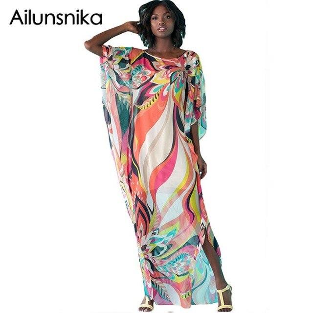 2602cf316e1 Ailunsnika African Ethnic Print Kaftan Maxi Dress Losse 3 4 Sleeve Tunic  For Beach Smock Summer Beach Long Chiffon Dress MX216