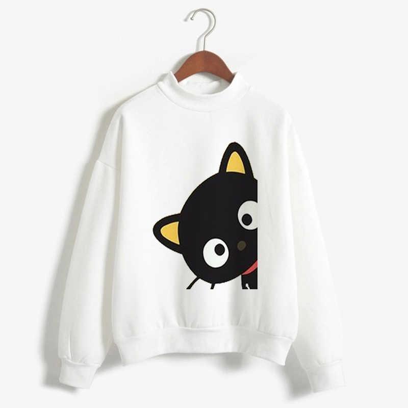 19072a094 ... CDJLFH Cat Print T shirts Women Cartoon Turtleneck Clothes Kawaii White  Winter Autumn 2018 Loose Casual ...