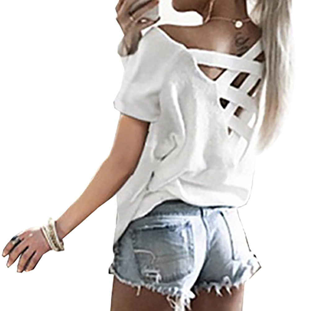 Black t shirt white cross on back - Plus Size Sexy Hollow Out T Shirts Women 2017 Summer Back Cross Belt Short Sleeve Slash