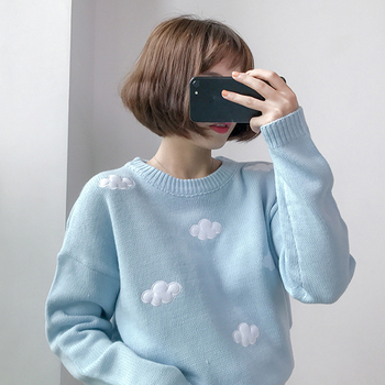 Gagarich 2019 Winter Women Sweaters Korean Clothes Sweet Clouds Pullovers Plus Size Women Sweater Kawaii Tops pajamas