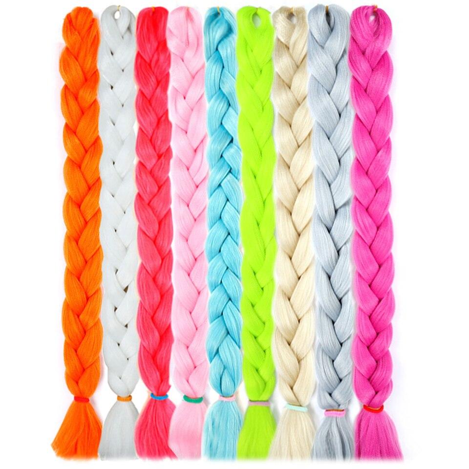 WTB Synthetic Long Jumbo Hair Braids Pink Blue Yellow Pure Color Crochet Braids Hair Extensions High Temperature Fiber 165g/Pack
