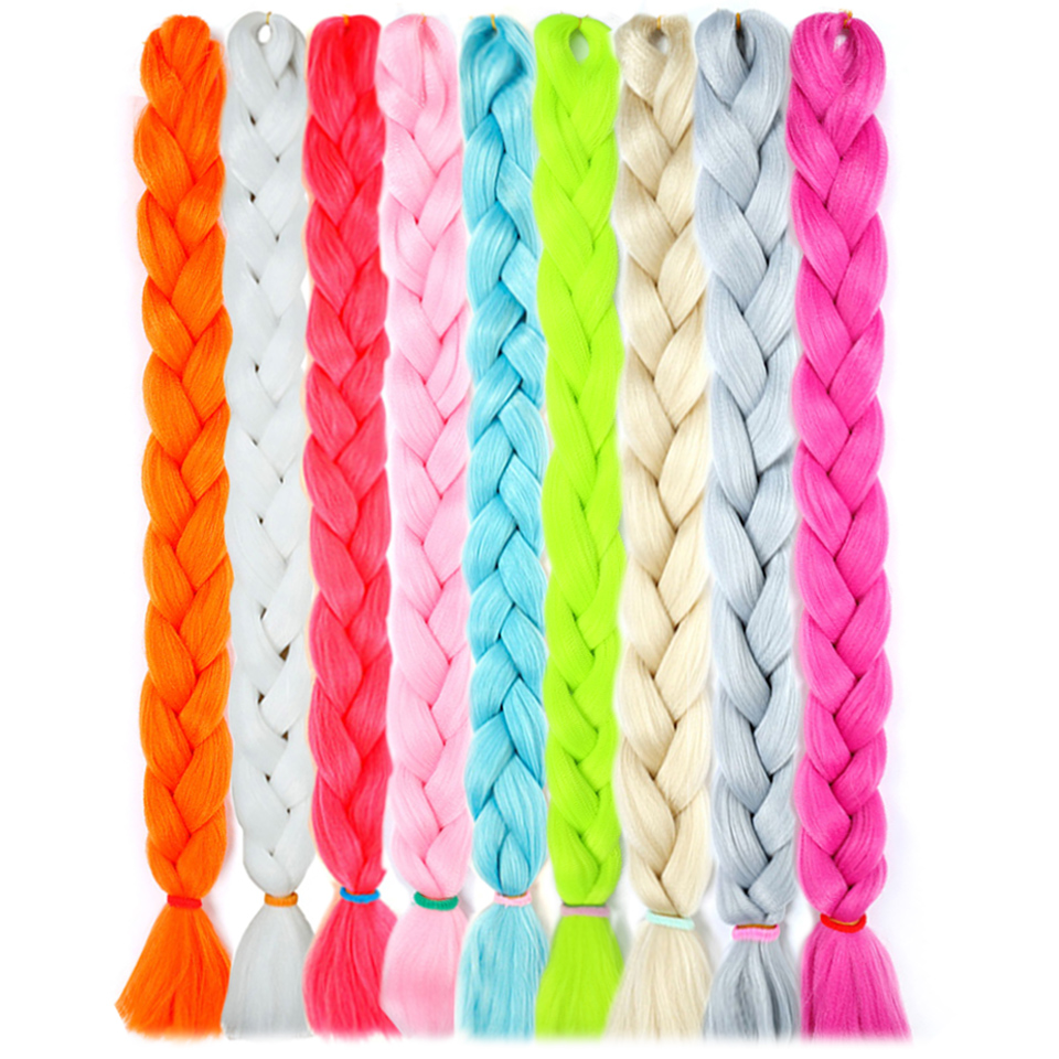 WTB Synthetic Long Jumbo Hair Braids Pink Blue Yellow Pure Color Crochet Braids Hair Extensions Kanekalon Fiber 82