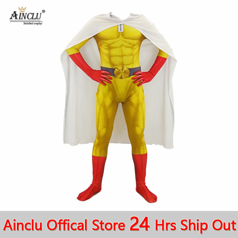 Ainclu Mens Boys ONE PUNCH MAN Cosplay Costumes Super Hero Saitama Cosplay Bodysuit Halloween Jumpsuits Outfits With Cloak/Cape