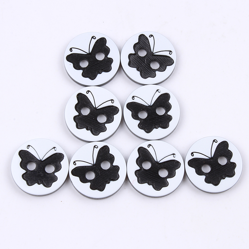 100pcs/lot 13mm 2-Holes Flatback Round Button Resin Butterfly button Garments Accessories DIY Sewing Apparel Ornaments Supplier
