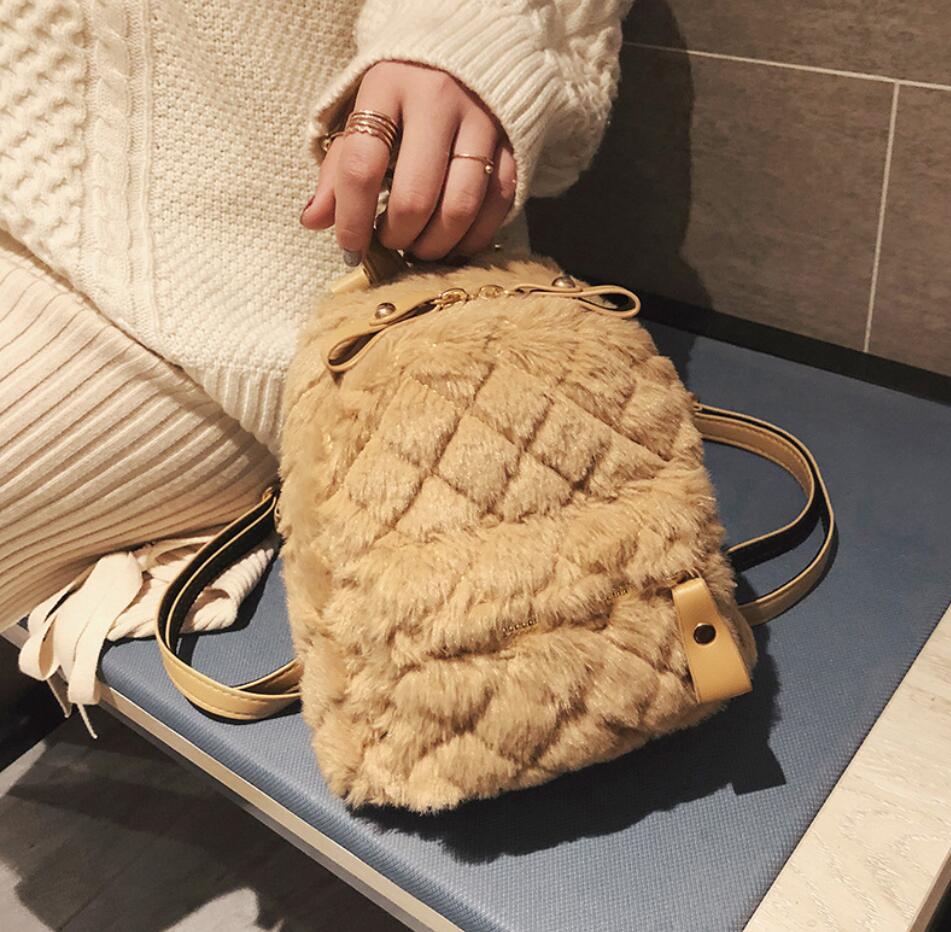 Winter Fashion Women's Backpack High Quality Soft Plush Mini Backpack Women's Shoulder Bag Travel Bag School Backpacks