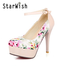 Fashion Floral Cotton Fabric Patent Round Toe Platform High Heels Women Shoes Sexy Red Bottom Ankle Strap Women Pumps Size 34-43