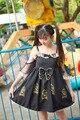 Японский Sweet Girl золотой Печати Лолита Dress Принцесса с Погонами и белое кружево с бантом Мори Девушка Стиль Каваи