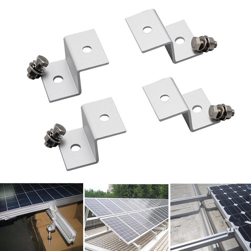 1 Set (4pcs) Solar Panel Mounting Stand Z Type Solar Ssytem Installation Brackets Aluminum W/ Stainless Bolt