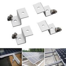 1 Set (4pcs) Solar Panel Mounting Stand Z Type Solar Ssytem Installation Brackets Aluminum W/ Stainless Bolt
