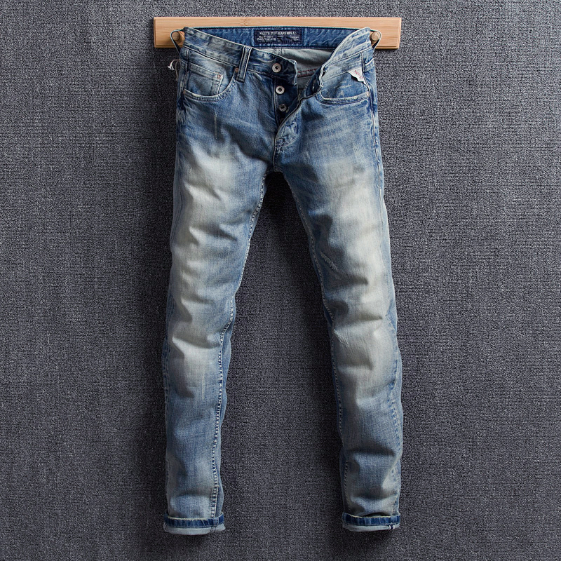 Fashion Streetwear Men Jeans Light Blue Color Vintage Design Classical Jeans Men Denim Buttons Pants Elastic Hip Hop Jeans Homme