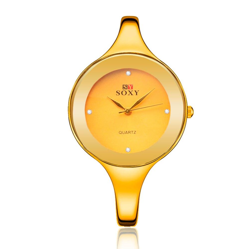 Women Dress Watch Brand SOXY Quartz Fashion High Quality New Designer Stainless Steel Luxury  Round Dial Wristwatches Relogios