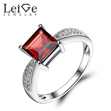 Leige Jewelry Square Cut Garnet Rings for Women Engagement Promise Ring Sterling Silver 925 Fine Jewelry January Birthstone
