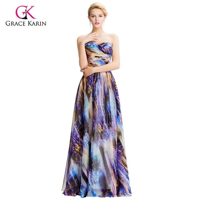 2018 Evening Dress Grace Karin Vintage Floral Print elegant Colorful ...