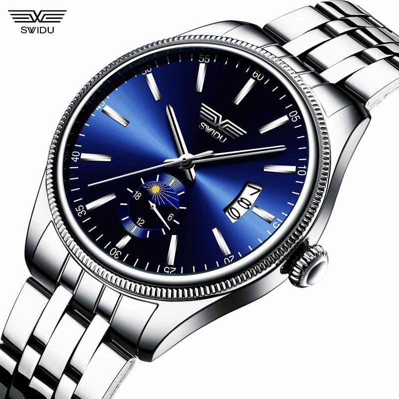 Full Stainless Steel Men's Watch Good Quality Men Wrist Watches 30M Waterproof Date Clock Fashion Man Business Hours Mens SWIDU