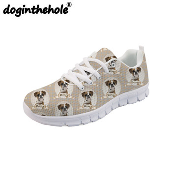 doginthehole Women Sport Shoes Cute Boxer Dog Printing Women's Sneakers Flats Comfortable Walking Shoes Outdoor Fitness Lace-up