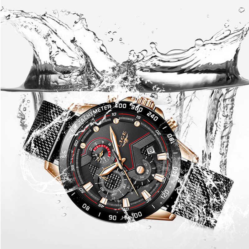 ליגע מותג גברים של אופנה שעונים גברים ספורט עמיד למים קוורץ שעון איש דק במיוחד רשת חגורת שעון שעוני יד Relogio masculino