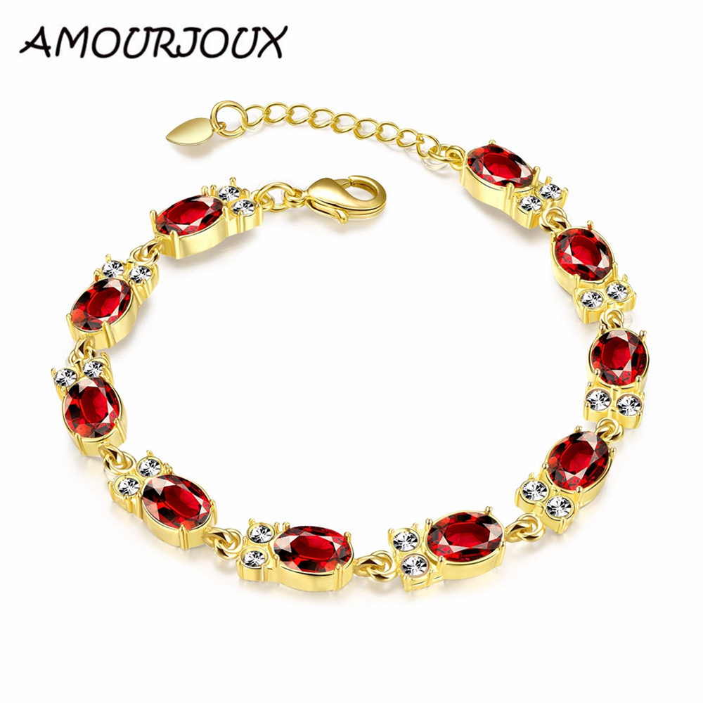 Amourjoux Cute Owl Link Charms Gold Color Charm Bracelets & Bangles With  Red Cz For Women