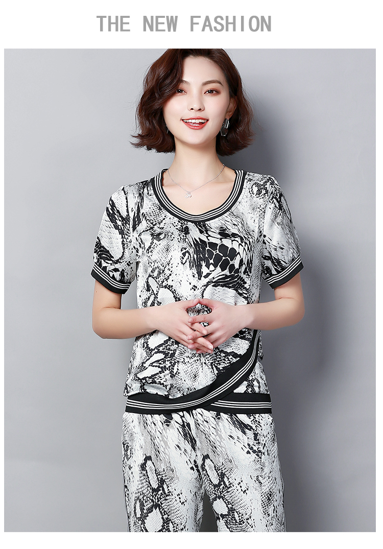 Plus Size Summer Snake Printed Two Piece Sets Women Short Sleeve Tops And Wide Leg Pants Suits Casual Elegant Korean Womens Set 46