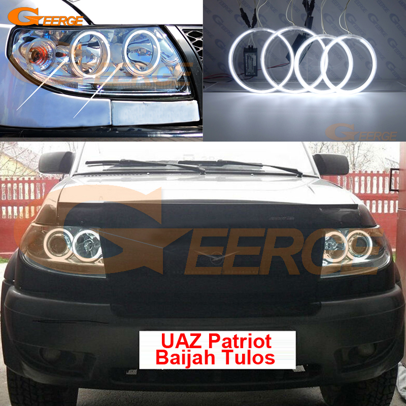 For UAZ Patriot Baijah Tulos 2007-2014 Excellent Angel Eyes Ultra bright headlight illumination CCFL angel eyes kit Halo Ring for chrysler pacifica 2007 2008 halogen headlight excellent angel eyes ultra bright illumination ccfl angel eyes kit