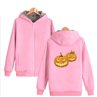 Halloween Pumpkin Print Pink Hoodie Sweatshirts Men Women With Hood Winter Thicken Warm Zipper Hooded Jacket Coat Outwear
