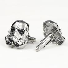 Star Wars Cufflinks Galactic Empire Imperial Stormtrooper Enamel Mask Shirt Brand Cuff Buttons Silver Plated Cuff Links Jewelry cheap Tie Clips Cufflinks Fashion Trendy Plain Metal Zinc Alloy Figure KY-CL10026 2*2 3CM