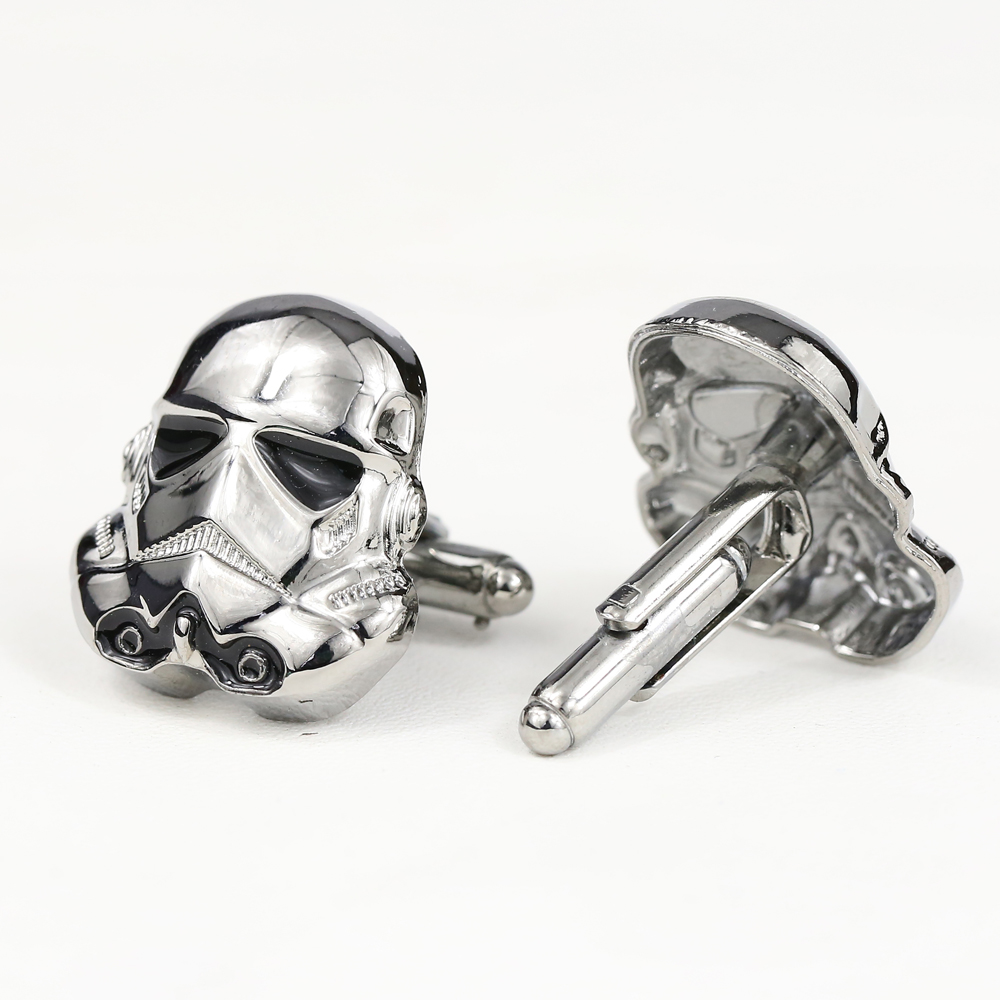 Star Wars Cufflinks Galactic Empire Imperial Stormtrooper Enamel Mask Shirt Brand Cuff Buttons Silver Plated Cuff Links Jewelry