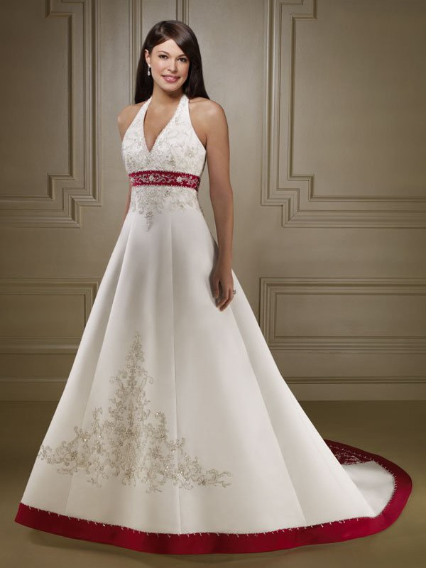 2017 High Quality Exquisite Satin Embroidery Wedding Dress White And
