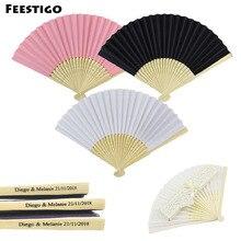 Feestigo 50PCS Customized Folding Fan Silk Bamboo Personlized Handheld Folded Bridal Dancing Props Church Wedding Favors