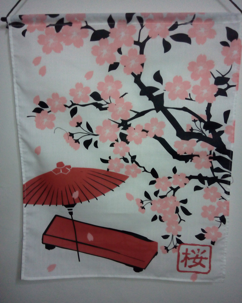 (Customized Size Accept) Korea/Japan/China Sushi Restaurant Kitchen Hanging Curtain-Plum Flower(29x45cm)