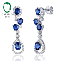 0.37ct Diamond & 2.02ct Oval Cut Sapphire 14K White Gold Engagement Drop Earrings