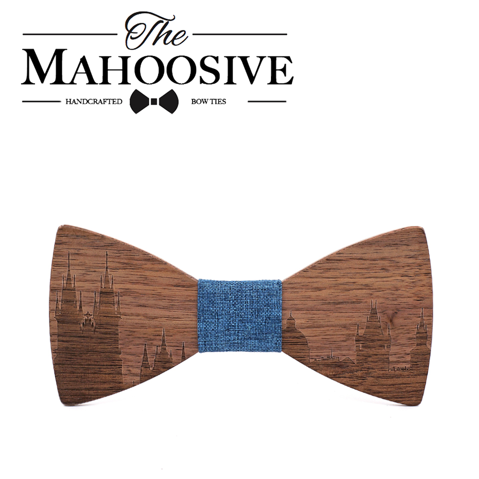 Mahoosive Skyline Bow Tie Mens Wood Silk Bow Tie France Bow Ties Wedding Pardy Butterfly BowTie Cravat Neckwear CZECH PRAGUE