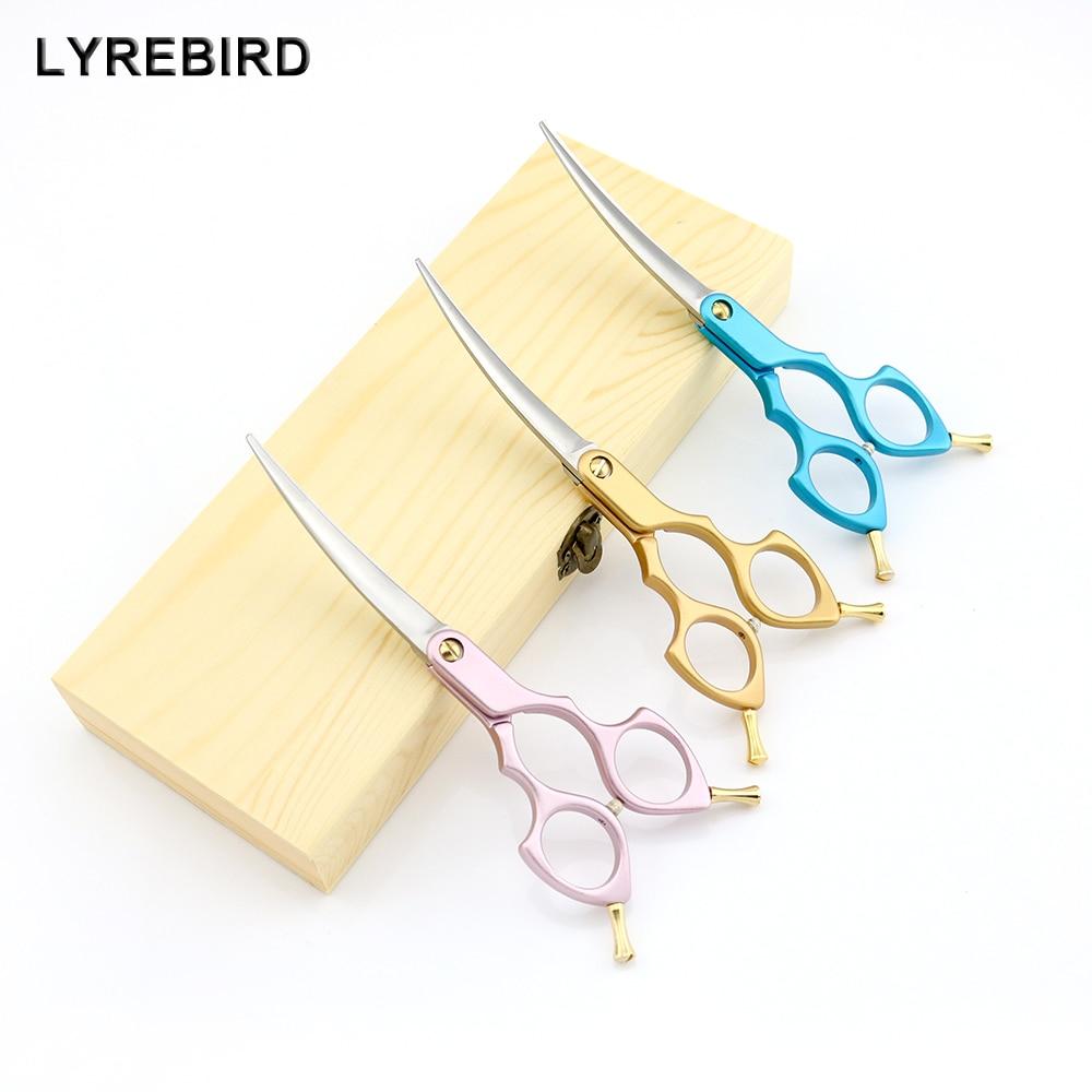 Pet dog Grooming Scissors Curve 6 Inch Curved Scissors Pink Golden or Blue Handle Super Japan 440C Lyrebird TOP CLASS NEW