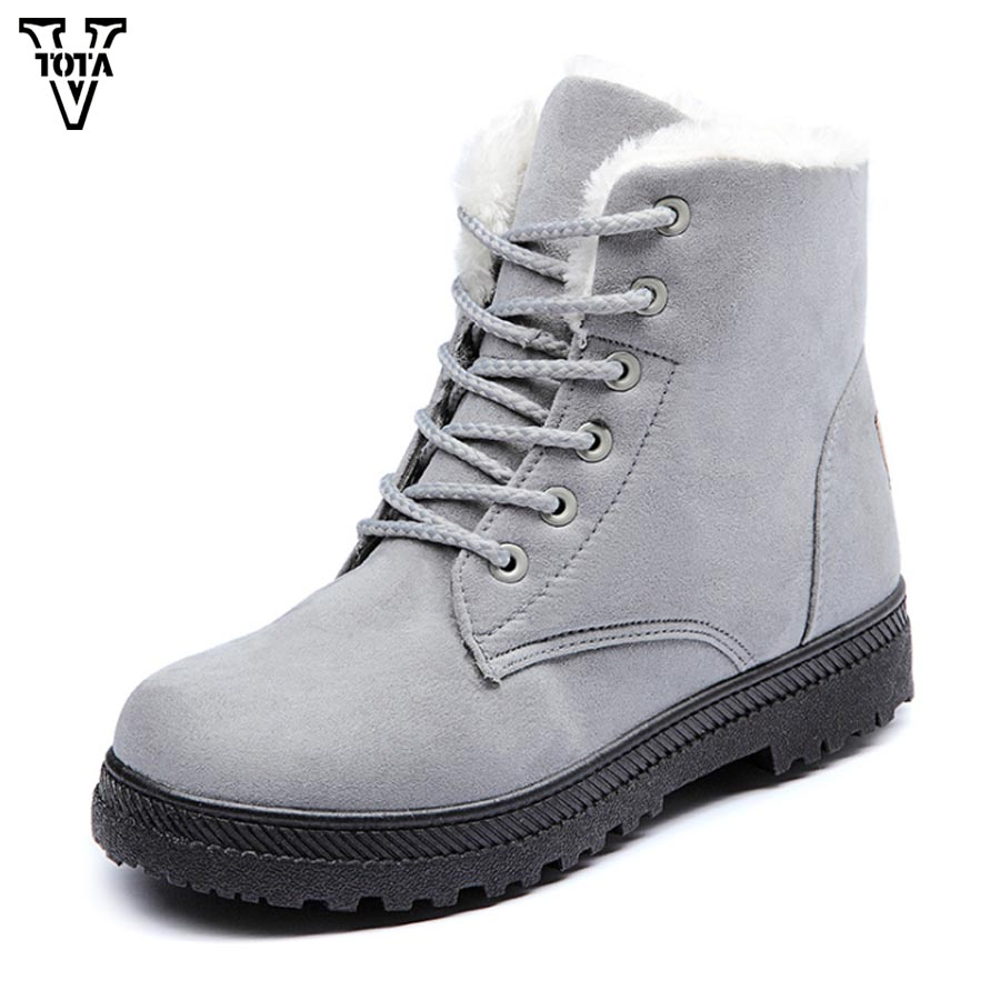 VTOTA Women Snow Boots Winter Women Shoes Botas Mujer Ankle Snow Boots Female Warm Fur Plush Insole Solid Platform Slip On MCXY vtota boots women fashion autumn martin boots warm women shoes ankle boots for women winter botas mujer wedges ankle boots d23
