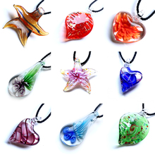 New Hot Bohemia Long Chain Charm Necklaces Handmade Leaves Sea star Heart Glass Pendant Necklace Femme Jewelry Women Party Gifts
