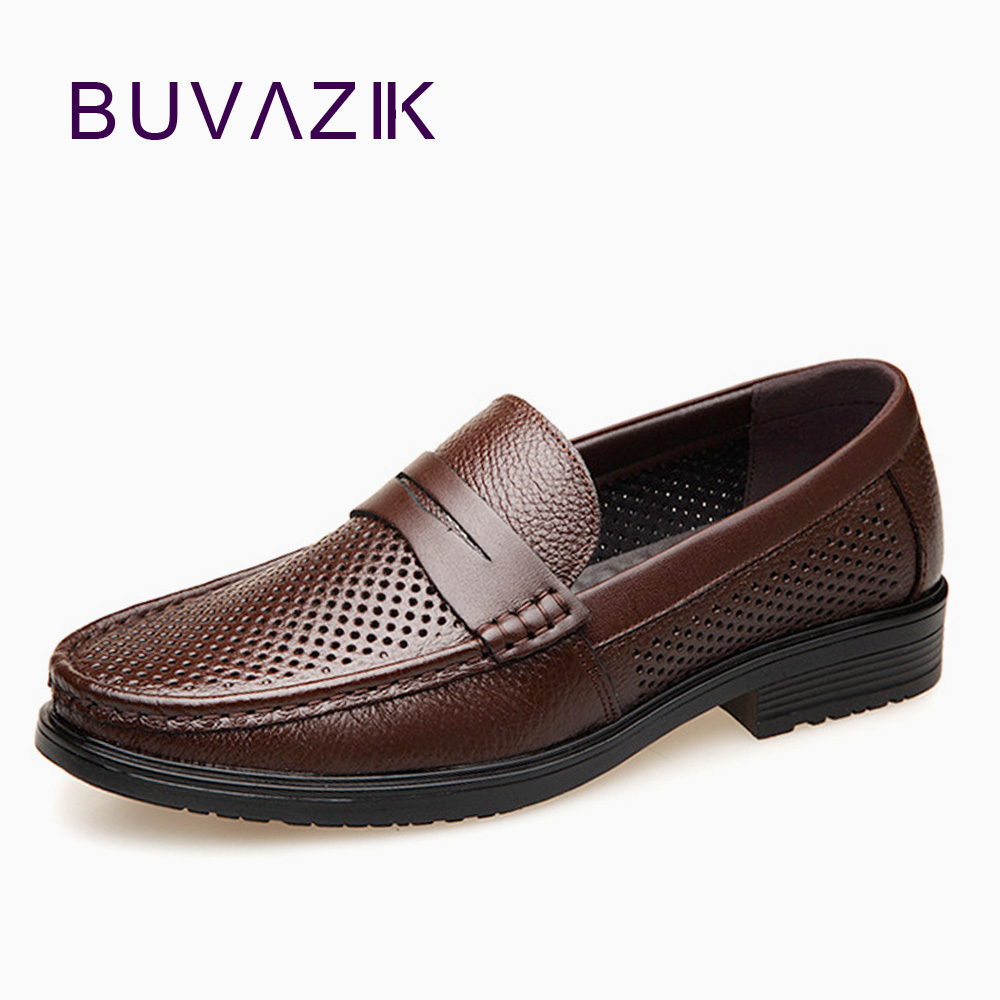 BUVAZIK Summer new men s Peas shoes men s breathable hollow leather casual shoes the first