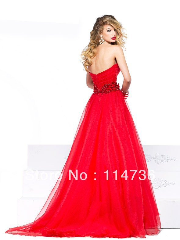 2014 blood Red Long Strapless ball gowns Tulle backless Bridal gowns  Evening dresses Sexy prom dress gowns-in Prom Dresses from Weddings    Events on ... f1f1928e462d