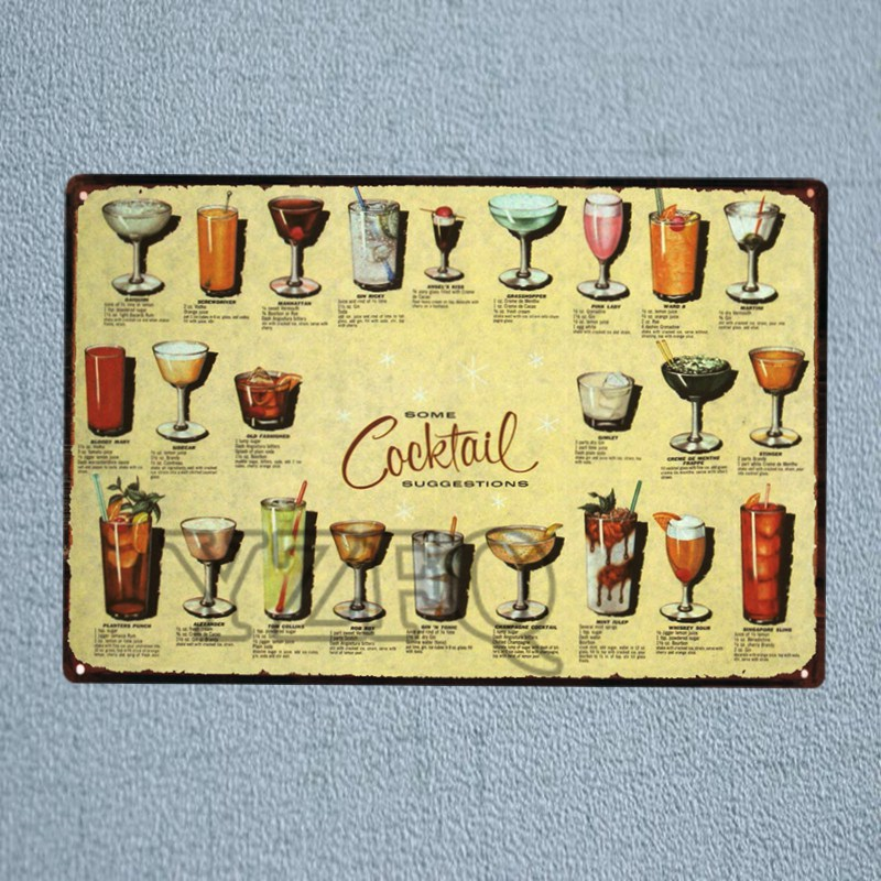 Cocktail Drink Tin Metal Sign Vintage Plaque Painting Pub Home Art Living Room Wall Decor Cuadros DU-1280 ...