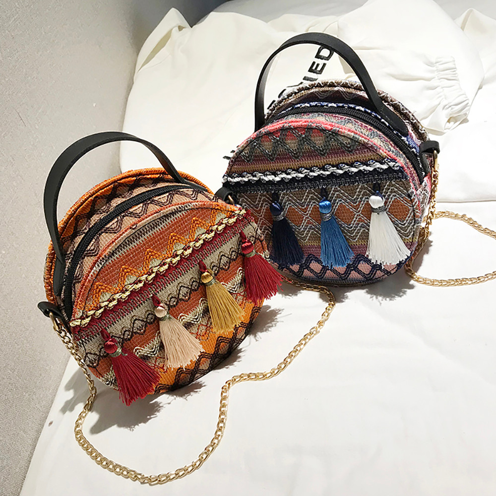 Women Tassel Chain Small Bags national wind round bag packet Lady Fashion Round Shoulder Bag Bolsos Mujer#A02 105