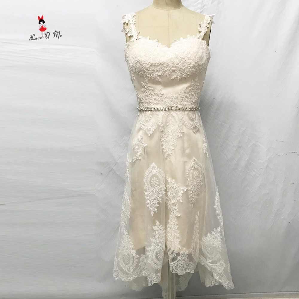 Недорогие свадебные платья Бохо Китая с высоким низким подъемом кружевное