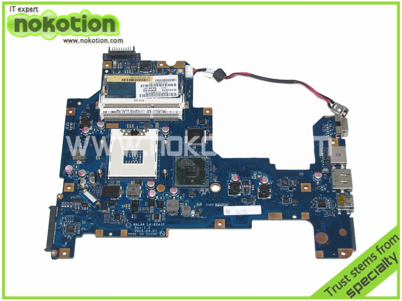 NOKOTION  K000103760 NALAA LA-6041P Laptop motherboard for Toshiba L670 L675 REV 1.0 Intel HM55 DDR3 Mainboard full tested nokotion laptop motherboard for acer aspire 5820g 5820t 5820tzg mbptg06001 dazr7bmb8e0 31zr7mb0000 hm55 ddr3 mainboard