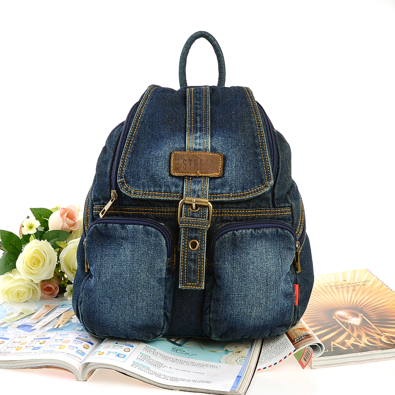 Classic Vintage Fashion Denim Jean Women Backpacks Preppy Style Crossboday Bags Girls School Bags Travel Casual