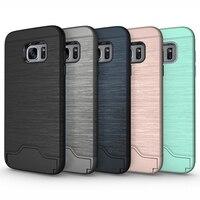 Tollcuudda بالنسبة samxung s7 حافة حالة tpu & pc بسيط kickstand الحالات الغطاء مع بطاقة pocketand casesphone والأغطية