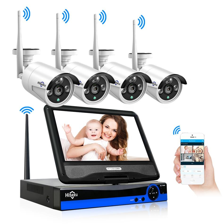 Hiseeu Displayer 4CH 1080P 960P NVR Wireless Security CCTV System 4PCS Outdoor WIFI IP Camera CCTV Kit Video Surveillance IP Pro hiseeu 4ch 1080p hd outdoor ir night vision video surveillance 4pcs security ip camera 2mp wifi cctv system wireless nvr kit hdd