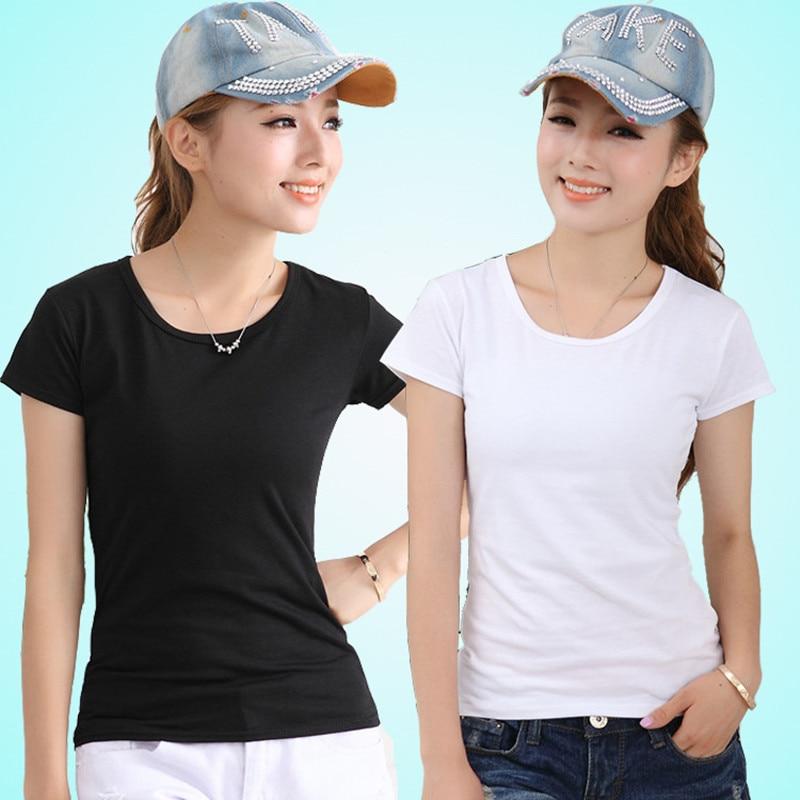 100pcs/lot Pure color t shirt women clothing summer solid t-shirt female casual tshirt fashion short sleeve M-XL
