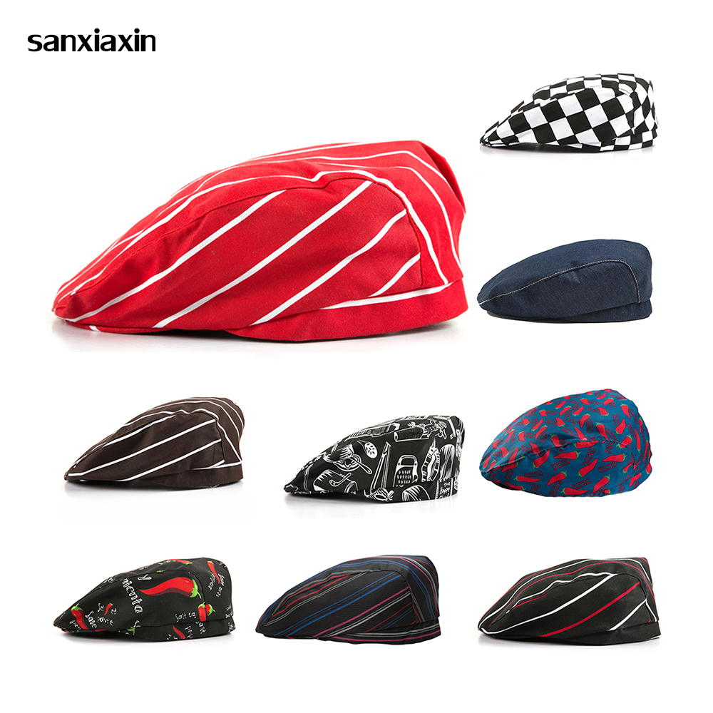 SanxiaxinHigh Quality New Chef Hat Hotel Uniform Chef Uniform Restaurant Hat Cook Uniform Chef Working Wear Hat Stripe Wholesale