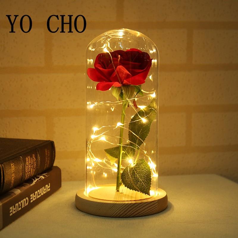 YO CHO 11.11.ventas flores artificiales seda plástico Rosa rama en frasco led Rosa botella lámpara San Valentín regalo flores falsas
