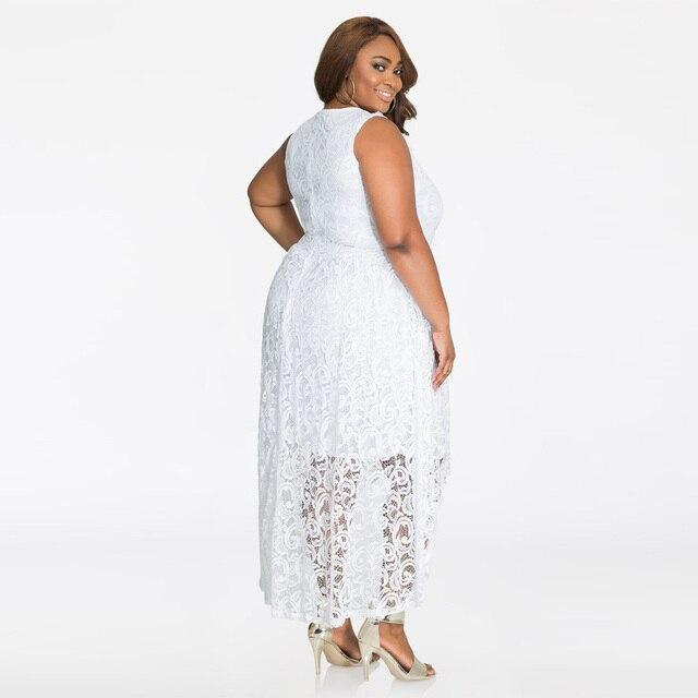 Plus Size Women Dress Lace White Summer Long Dress Casual 2018 Sun Dress Sleeveless V-Neck XXXXL XXXL Womens Beach Dresses 2